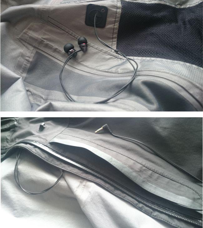 kurtka kieszen dziura na słuchawki